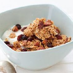 Almond Granola with Dried Fruit   added honey and almond extract |  http://www.dispatch.com/content/stories/food/2012/02/15/almond-granola-with-dried-fruit.html