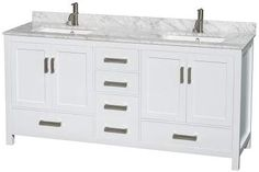 Wyndham Collection Sheffield 60 in. Double Bathroom Vanity in White, White Carrera Marble Countertop, Undermount Square Sink and No Mirror Best Bathroom Vanities, Single Sink Bathroom Vanity, Vanity Sink, Modern Bathroom, Sinks, Bathroom Ideas, Master Bathroom, Tiled Bathrooms, Bathroom Showers