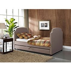 Maison Twin Upholstered Daybed and Trundle, Pebble Stone: Furniture : Walmart.com $299