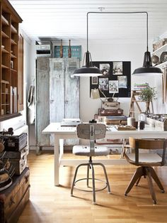 Birch + Bird: Shared Workspace. I love the industrial pendants, vintage lockers, and simple desk.