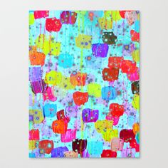 SPECKLE ME DOTTY - Bright Polka Dot Cheerful Aqua Turquoise Blue Rainbow Fine Art Abstract Painting Canvas Print by EbiEmporium - $85.00