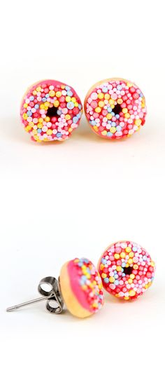 Perfect gift for donut lovers - these strawberry (hot pink) iced donut stud earrings - with sprinkles of course - Kawaii kitsch - food jewellery - Christmas or birthday gift