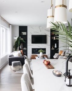 A home that feels sleek and cool, but still approachable by Ottawa Interior Design firm Leclair Decor. The perfect embodiment of their signature warm modern aesthetic. modern home decor Home Living Room, Interior Design Living Room, Living Room Decor, Living Room Designs, Living Spaces, Kitchen Living, Condo Living, Small Living, Kitchen Interior