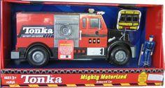 Cast iron piggy bank firetruck fireman fire fighter for Tonka mighty motorized cement mixer