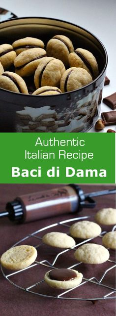 Baci di Dama or Lady Kisses are authentic Italian treats with almonds or hazelnuts shaped as lips united by chocolate. #dessert #italy #196flavors