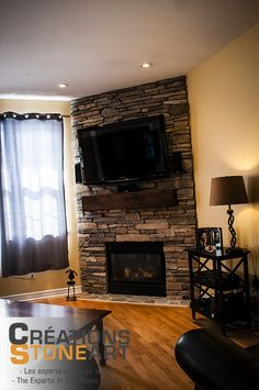 Fireplace done with Cultured Stone Fox Southern Ledgestone.