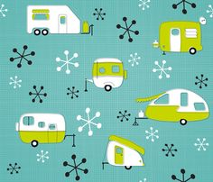 Julie's Campers Lime/TurQ fabric by juliesfabrics on Spoonflower - custom fabric