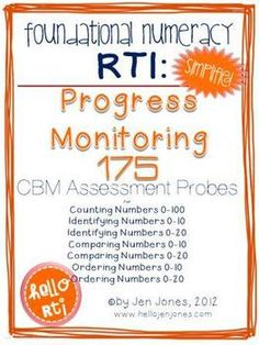 RTI: 175 CBM's for Progress Monitoring Foundational Numeracy Interventions - Jen Jones-Hello Literacy - TeachersPayTeachers.com