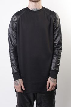 Leather sleeved sweat #urbanfashion#streetwear #black