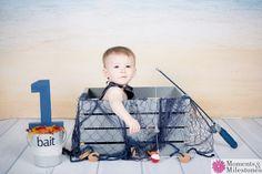 Those big, blue eyes!  Happy Birthday kiddo - we hope you love your fishing-themed photo session :)