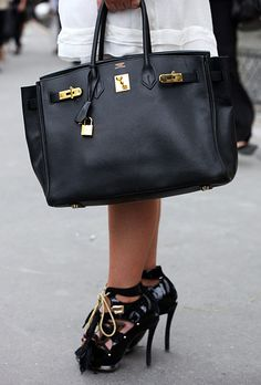 Hermès bag with Louis Vuitton shoes