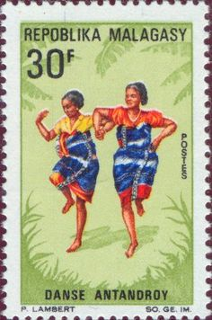 Malagasy - Two young girls of the Antandroy tribe dancing