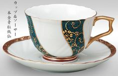 Cup and saucer Honkin blue grain TetsuSen - Kutani Cup And Saucer, Tea Cups, Grains, Tableware, Blue, Dinnerware, Tablewares, Dishes, Seeds