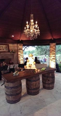 like the idea of rustic and glam Gazebo Uplighting & Chandelier with Wine Barrel Bar - DPC Event Services Wine Barrel Furniture, Bar Furniture, Outdoor Furniture, Furniture Stores, Luxury Furniture, Wine Barrel Bar, Wine Barrels, Whiskey Barrel Table, Wine Barrel Table Diy