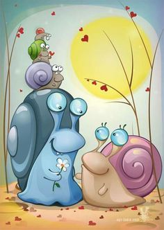 So sweet. Giving a flower . Cartoon Drawings, Cute Drawings, Drawing For Kids, Art For Kids, Pictures To Draw, Cute Pictures, Snail Art, Happy Paintings, Cute Images