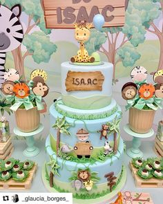 No photo description available. Safari Birthday Cakes, Jungle Theme Birthday, Safari Cakes, Safari Theme Party, Festa Safari Baby, Safari Baby Shower Cake, Baby Shower Cakes, Boys First Birthday Party Ideas, 1st Boy Birthday