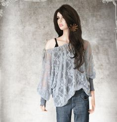 Women blouse gray lace keyhole peasant neckline by tratgirl55