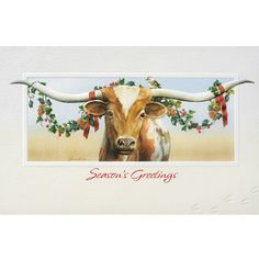 Longhorn was created by fine arts painter Juan Vela who artfully captured this handsome steer celebrating the holiday season while home on the range. Each card is fully embossed and finely detailed on recycled paper. Cowboy Christmas, Christmas Animals, Country Christmas, Christmas Art, Vintage Christmas, Christmas Holidays, Christmas Ideas, Christmas Greetings, Christmas Ornaments