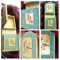Key holder and note box with decorative 3D crackle and decoupage
