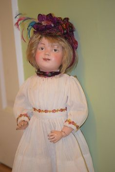 Antique Doll Schoenhut Wood Carved Jointed W/ Original Shoes Unusual Carved Eyes Dressed