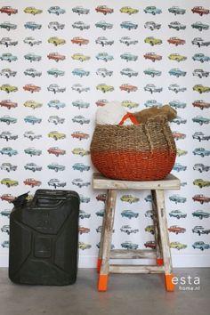 Behang auto's oldtimers kleur? De leukste Behang voor de kinderkamer bij Saartje Prum.