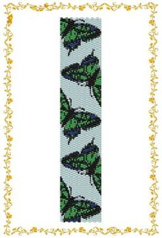 Beading pattern Bracelet cuff Butterfly. Even count 2 drop peyote stitch.Cuff. Pattern for Delica 11    length: 7,8 inches (rows112)  width: 1,7