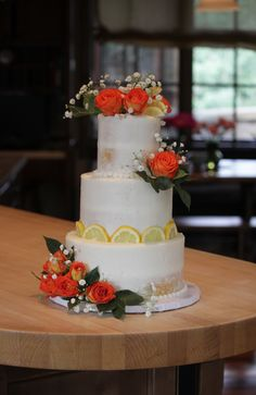 Semi-naked half-dressed wedding cake with lemon accents and orange roses! 6 and 8 inch tiers. Lemon Wedding Cakes, Fondant Wedding Cakes, Wedding Cake Images, Cake Makers, Orange Roses, Cake Pictures, Valentine Box, Elderflower, Beautiful Cakes
