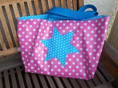 Badetasche/Strandtasche aus Wachstuch Stern von Wunschpunkt auf DaWanda.com