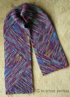 Multidirectional Diagonal Scarf #tricot #knit #pattern