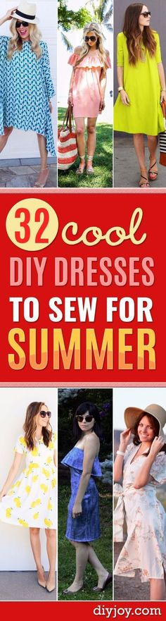 DIY Dresses to Sew for Summer - Best Free Patterns For Dress Ideas - Easy and Cheap Clothes to Make for Women and Teens - Step by Step Sewing Projects - Short, Summer, Winter, Fall, Inexpensive DIY Fashion http://diyjoy.com/sewing-dresses-patterns-summer #diydresseasy #easydiyprojectsforteens