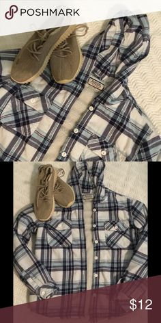 Flannel Men's Jacket w/ Hoodie Two Shades of Blue and White ...Two pockets in front...button up...gently used worn for 2 months...Fur inside Boston Traders Jackets & Coats