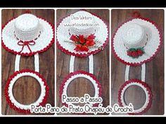 Artes da Desi: Passo a passo Porta Pano de Prato Chapéu de Crochê - http://www.artesdadesi.com/2015/11/passo-passo-porta-pano-de-prato-chapeu.html