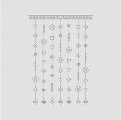 Blackwork Embroidery - Pattern Bluework Wind Chimes Instant Download PDF Blackwork Embroidery Needlework Pattern Blue Wind Chimes