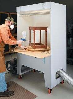 Woodworking Joinery Cabinets This spray booth keeps your shop clean and helps you get the best finish possible.Woodworking Joinery Cabinets This spray booth keeps your shop clean and helps you get the best finish possible. Woodworking Workshop, Woodworking Bench, Woodworking Crafts, Woodworking Projects, Woodworking Techniques, Woodworking Classes, Woodworking Beginner, Woodworking Quotes, Intarsia Woodworking