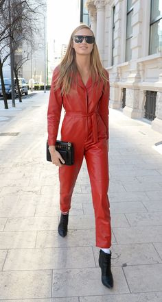 95a025e3484 Romee Strijd in Red Leather Jumpsuit Leather Overalls