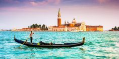 Gondola On Canal Grande With San Giorgio Maggiore At Sunset, Venice, Italy Stock Image - Image of giorgio, gondola: 43215303 Short City Breaks, Grand Canal Venice, Church Backgrounds, Venice Painting, Beautiful Places In The World, Venice Italy, Rome, Places To Go, 1