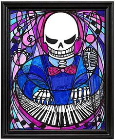 "11x14 Techno Keyboard Musician Skull Art Print in 11""x14"" Black Wood Frame Artisan Courtyard http://www.amazon.com/dp/B00N9KV1Y2/ref=cm_sw_r_pi_dp_6uckvb0C6QDK1"