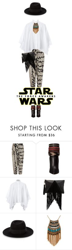 """""""Star Wars: The Force Awakens"""" by henaayu ❤ liked on Polyvore featuring Annette Görtz, Dsquared2, Valentino, Maison Michel, Leslie Danzis, starwars and contestentry"""