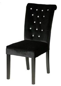 Cortesi Home Faux Crystals Button Tufted Black Velvet Parson Dining Chair (Set of 2)