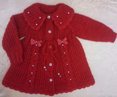 This Pin was discovered by Нат Crochet Baby Blanket Free Pattern, Baby Boy Knitting Patterns, Baby Sweater Patterns, Baby Cardigan Knitting Pattern, Knitted Baby Cardigan, Knitting Dolls Clothes, Knitted Baby Clothes, Knit Baby Dress, Baby Girl Sweaters