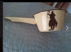 cute enamel vintage cowboy pot! Paid $1.21 at Good will