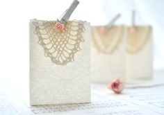 Cottage Chic Lace Covered Gift Bag with by AbbysPaperieGarden, $19.95