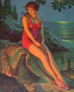 Pressler, Gene Woman at Shore, w Picnic Basket, Night {Duplicate Variation in Woman this has better definition} Dark Beach, Miss Mosh, Rolf Armstrong, Fashion Illustration Vintage, Pink Swimsuit, Retro Art, Vintage Art, Bathing Beauties, Pin Up Art