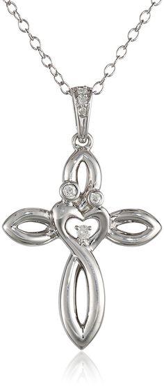 Sterling Silver Diamond Mom and Child Cross Pendant Necklace, 18' *** You can find out more details at the link of the image.