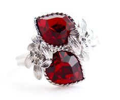 Vintage Red Rhinestone Heart Ring - Retro Signed Sarah Cov 1970s Stone Silver Tone Adjustable Costume Jewelry / Garnet Red Love Story by Maejean Vintage, $16.00