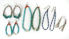 lot of 6 Pair Heishi Wire Earrings E521 Native American Artists, Native American Indians, American Indian Names, Vintage Earrings, Vintage Jewelry, Stone Necklace, Beaded Necklace, Vintage Shops, Vintage Items
