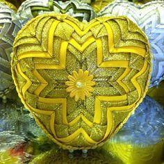 golden-yellow patchwork heart, christmas decoration
