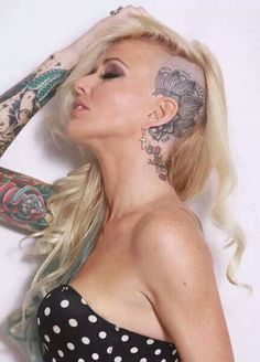 tattoo on the head for women - 45 Crazy Tattoos on Head  <3 <3