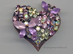 Violet butterflies flowers and hearts for my sweet darling Vylette Old Jewelry, Heart Jewelry, Jewelry Crafts, Jewelry Art, Jewelery, Vintage Jewelry, Butterfly Jewelry, Purple Jewelry, I Love Heart