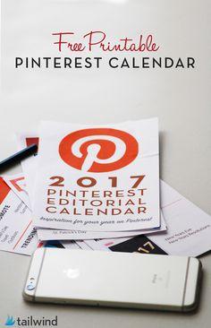 Free 2017 Printable Pinterest Content Calendar Pin